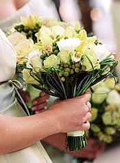 white and green brides bouquet.