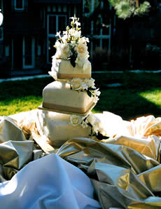 Gold ribbon and cream colored wedding cake.