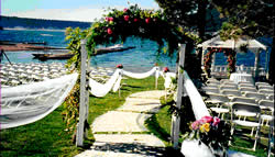 Lake view wedding arch.