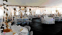 Inside wedding package reception tent.