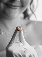 photo of bride with ring.