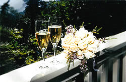 complete wedding package flutes and flowers.