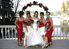 Wedding arch with bridesmaids.